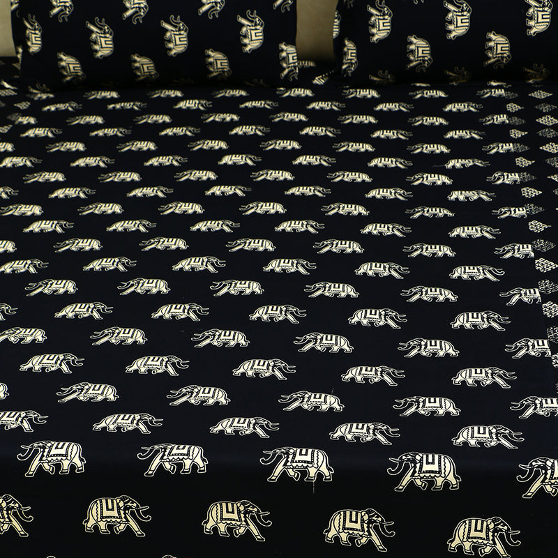 Cotton Bed Sheet - The Black Collection Elephant Motif