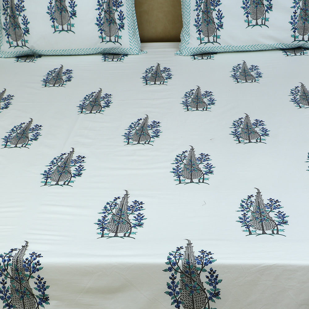 Cotton Bed Sheet - Hand Block Grey Pine Bush