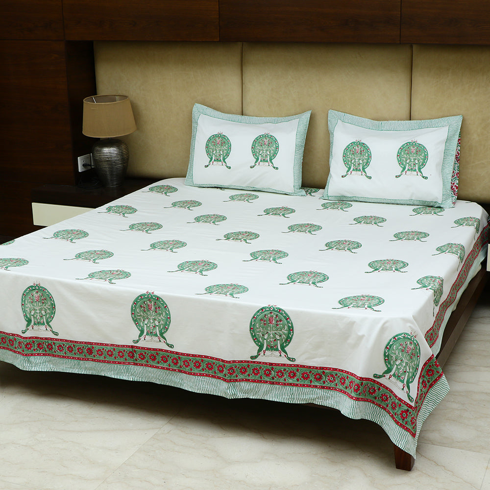 Cotton Bed Sheet - Hand Block Green Peacock