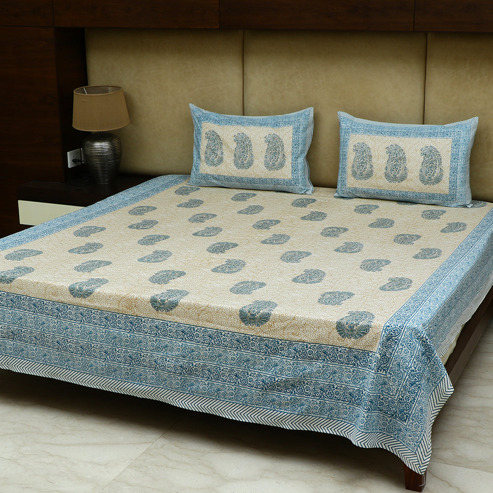 Cotton Bed Sheet - Mughal Jaipur Blue Ambi Self Design