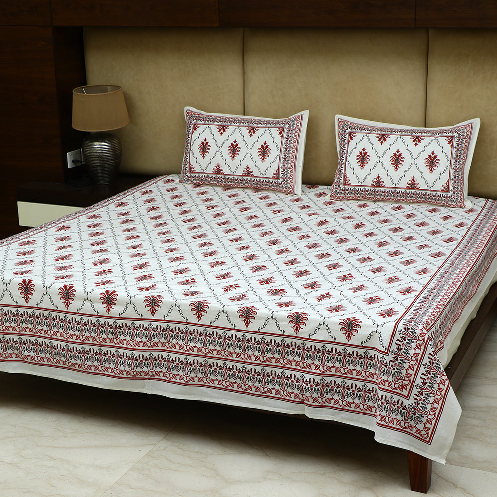 Cotton Bed Sheet - Mughal Jaipur Red Flower Diamond Checks