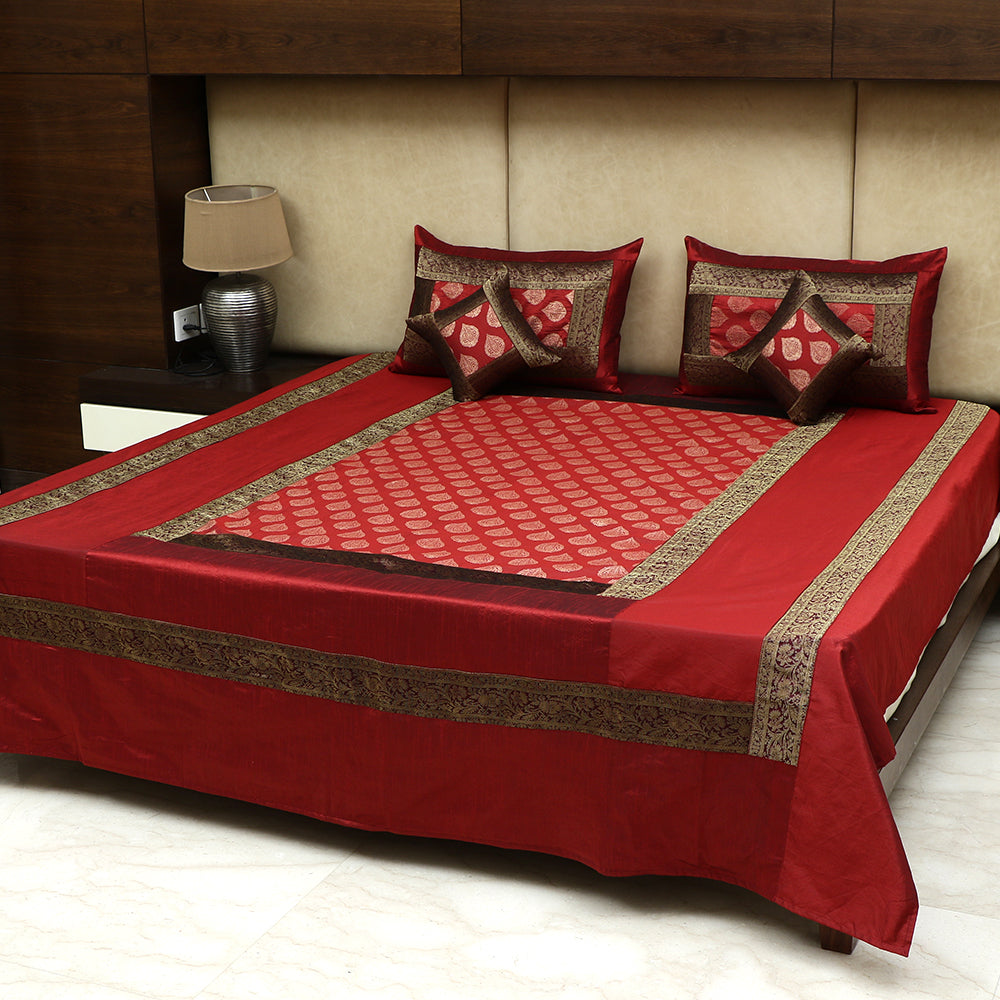 5 Pc Bedcover Set - Silk with Brocade Red & Gold Border