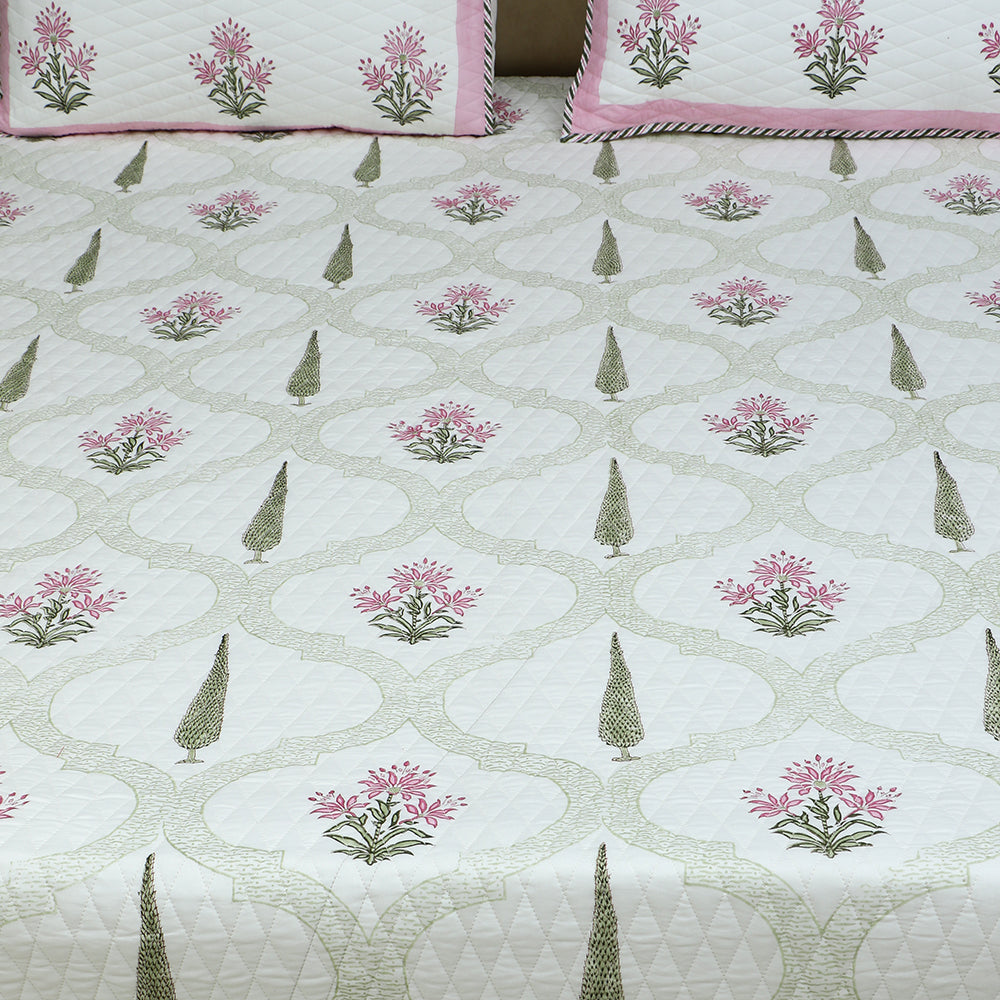 Cotton Quilted Bed Cover Set - Hand Block Pine with Pink Border