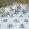 Cotton Quilted Bed Cover Set - Hand Block Sea Green Tree Motif