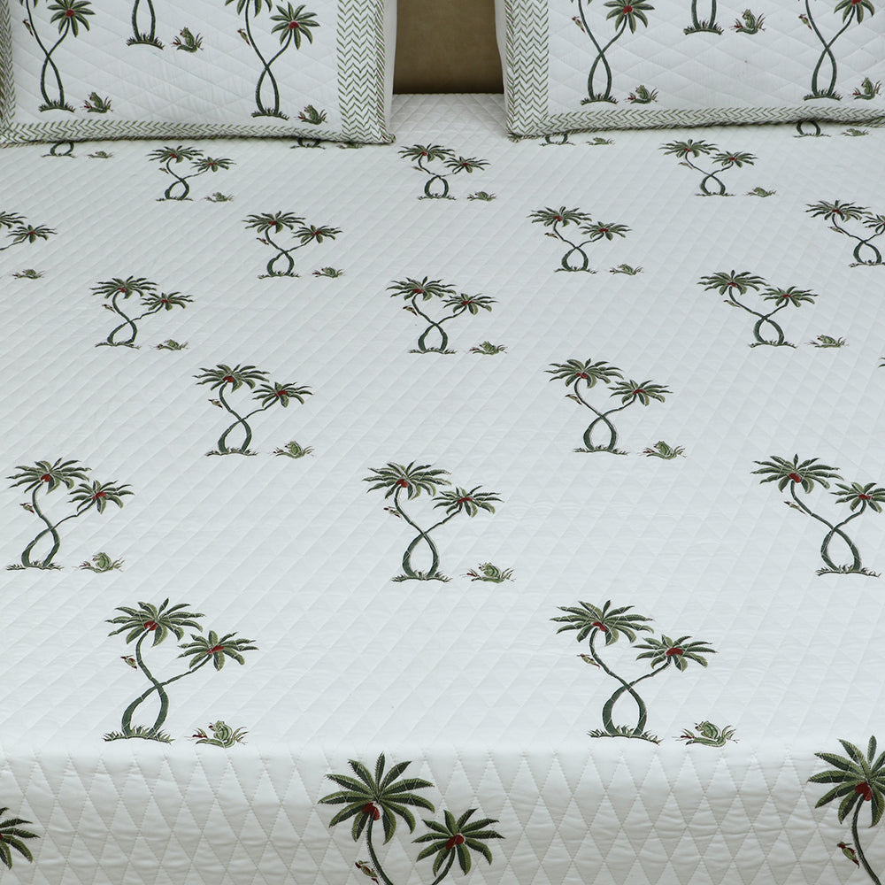 Cotton Quilted Bed Cover Set - Hand Block Green Palm Tree Motif