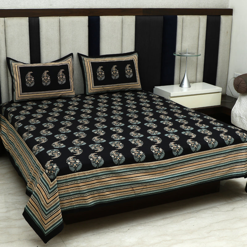 Cotton Bed Sheet - Mughal Premium Black with Stripes Border