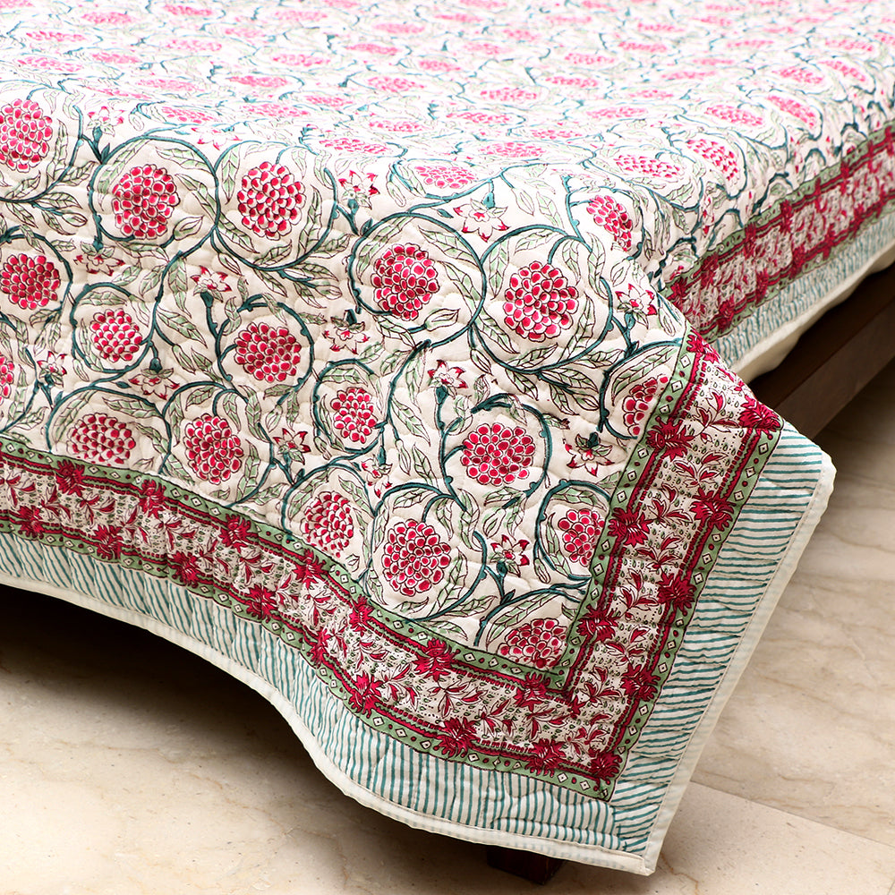 Cotton Premium Quilted Bed Cover - Green & Pink Berry Motif