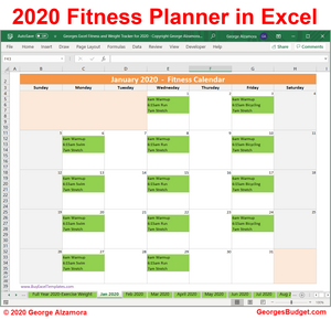 Year 2020 workout routine planner in Excel
