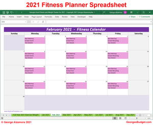 2021 Monthly Fitness Calendar Excel