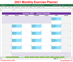 2021 Weekly Workout Plan Spreadsheet