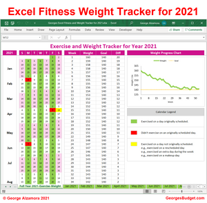 2021 Weight Tracker Workout Planner Spreadsheet
