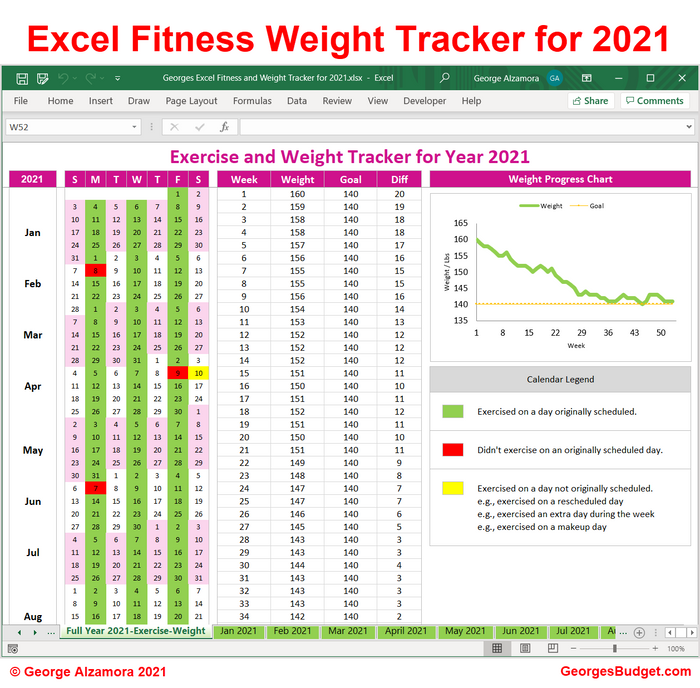 Excel Fitness and Weight Loss Tracker for 2021