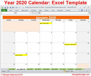 Calendar Year 2020 Excel Template