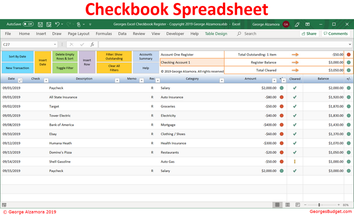 Georges Excel Checkbook Register v5.0