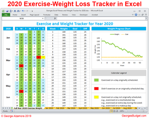Exercise weight loss tracker year 2020 Excel