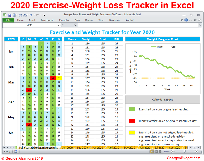 Excel Exercise Tracker - Weight Loss Tracker for Year 2020
