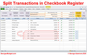 how to split transactions in excel checkbook register