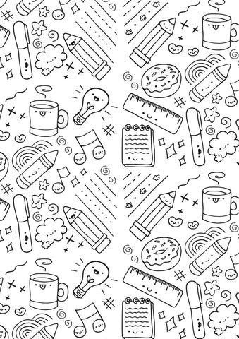 Doodles colouring page sheet