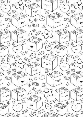 Building blocks colouring page sheet