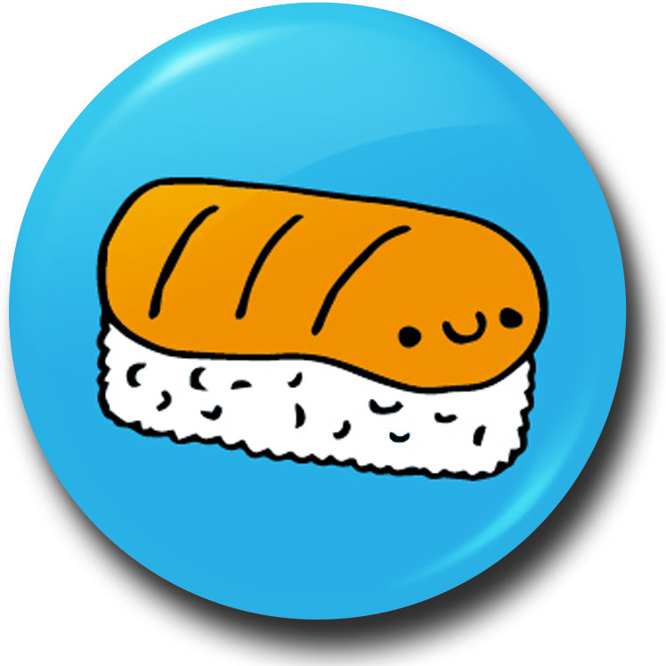 Happy sushi salmon nigiri button badge