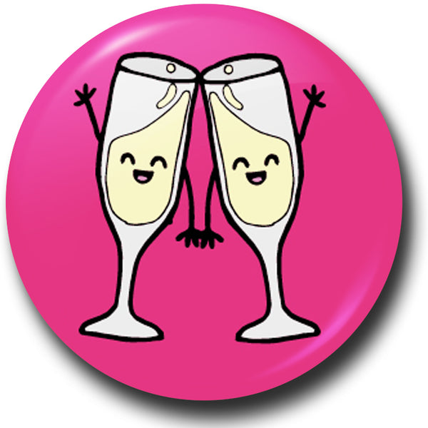 Champagne celebration button badge