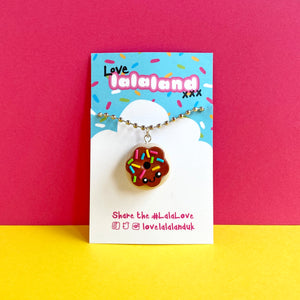 Cute Chocolate Donut Polymer Clay Charm