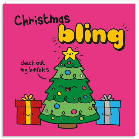Christmas tree bling card