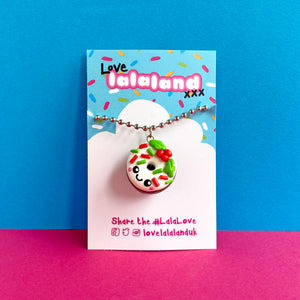 Cute Christmas Donut Polymer Clay Charm