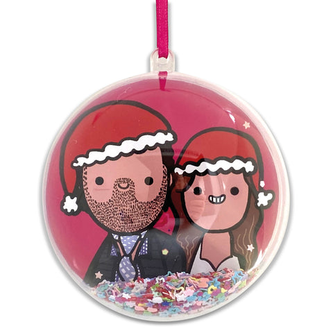 Personalised family Christmas bauble - 2/3 person