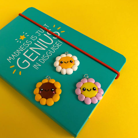 Smiley Flower Polymer Clay Charm