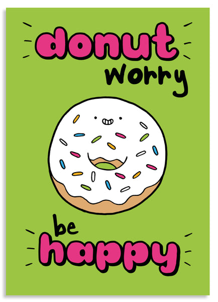 Donut worry be happy postcard
