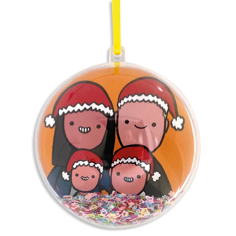 Personalised family portrait Christmas bauble
