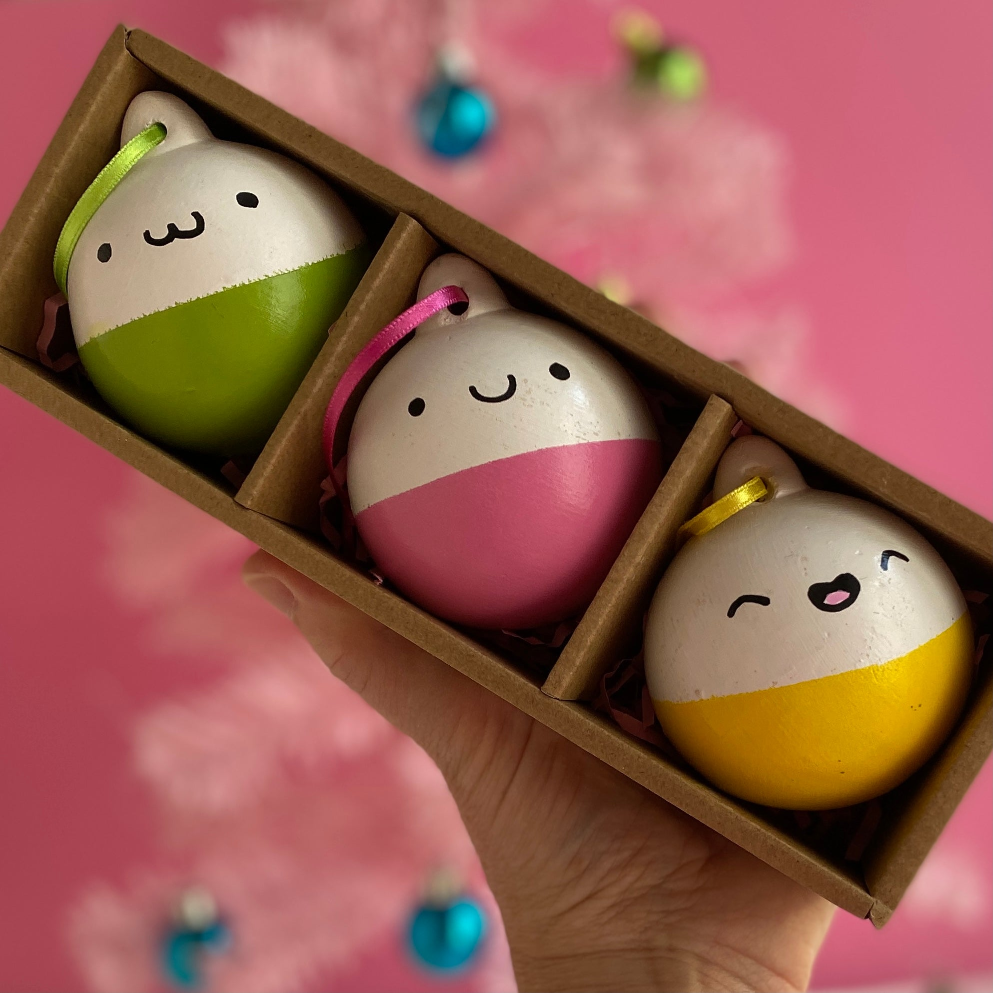 Colourful happy baubles - 3 pack