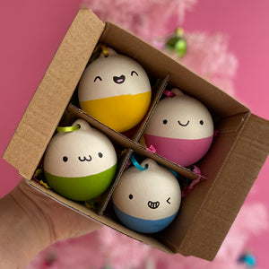 Happy colourful baubles - pack of 4