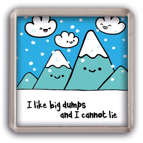 I like big dumps square fridge magnet