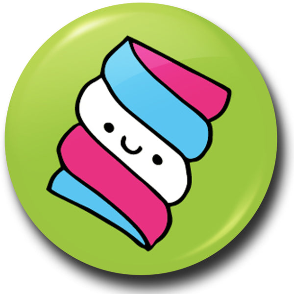 Pick n mix marshmallow button badge