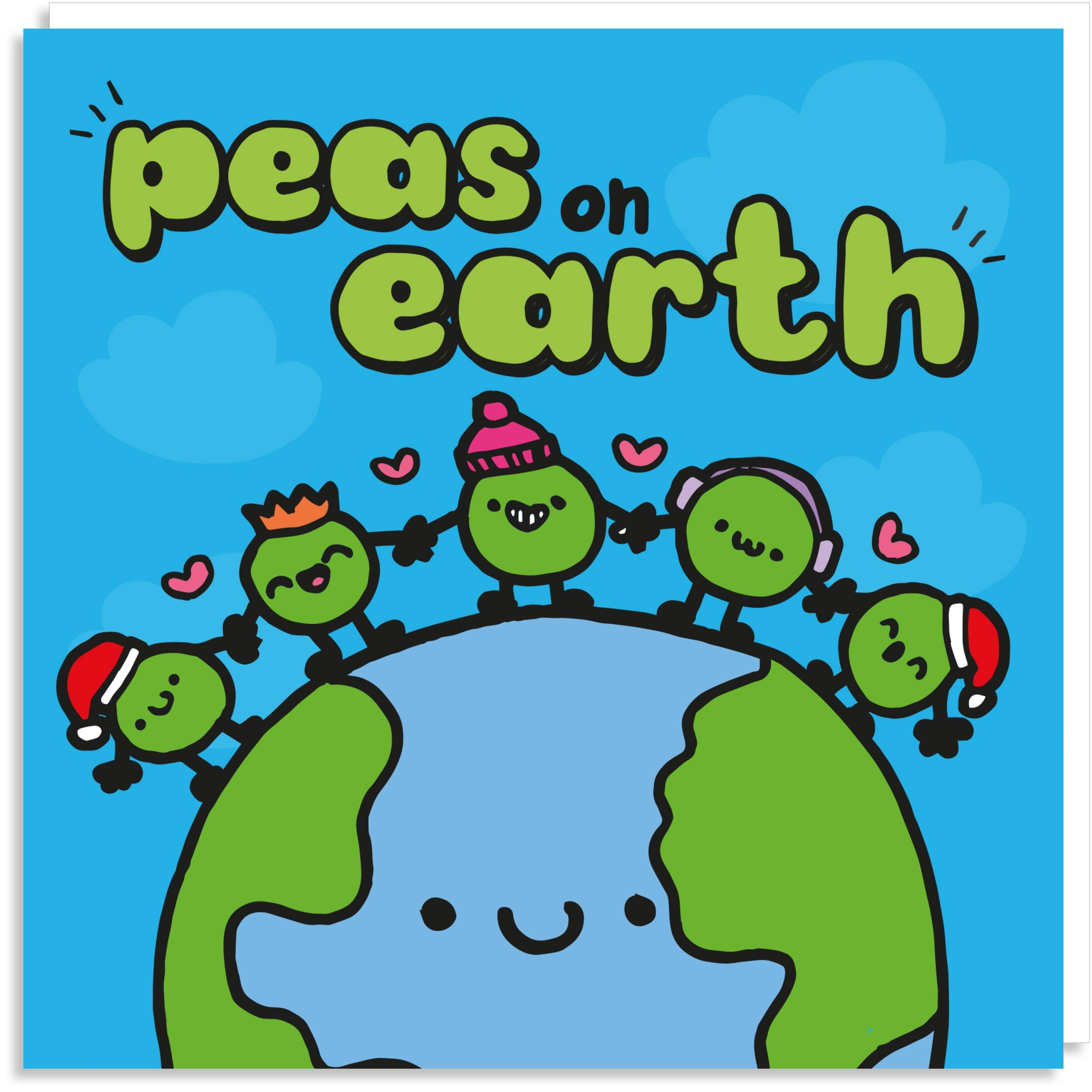 Peas on earth Christmas card