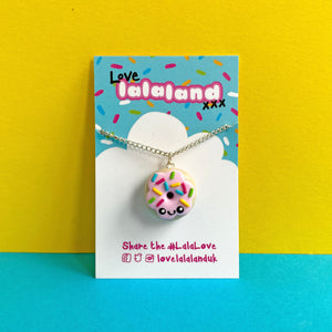 Cute Pink Donut Polymer Clay Charm