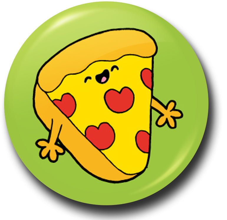 Fun food pizza button badge