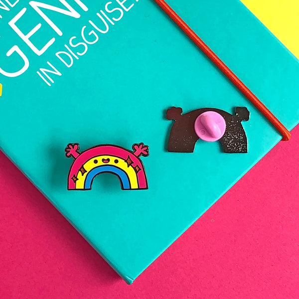 Rainbow hug hard enamel pin badge