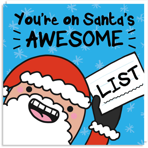 You're on Santa's awesome list Christmas card