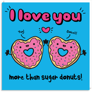 I love you more than donuts Valentine's card