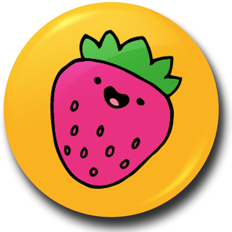 Pick n mix strawberry button badge