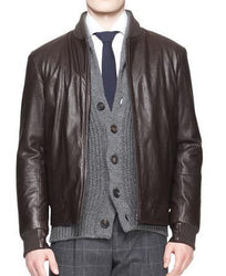 Zip Front Men Bomber Leather Jackets - Xosack