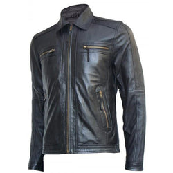 Zipper Time Less Black Leather Jacket Men - Xosack