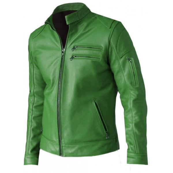 Regular Fit Part Wear Men Green Leather Jacket - Xosack