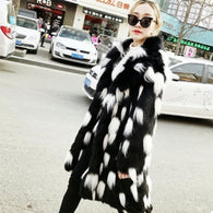 2019 New  Winter Fashion generous Women Faux fur Coat Fox Fur Jacket Long Section Black lapel Long Sleeves Warm Style Jackets