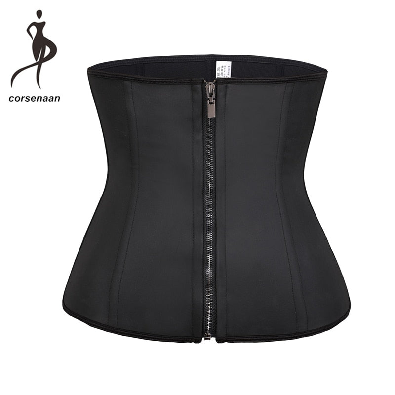 Women Waist Trainer Latex Belt Tummy Control Zipper Body Shaper Corset Girdle Slim Belt Size XS-6XL 608#