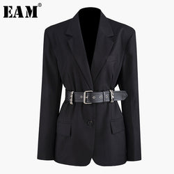 [EAM] Loose Fit PU Leather Rivet Decoration Belt Jacket New Lapel Long Sleeve Women Coat Fashion Tide Autumn Winter 2020 JZ276