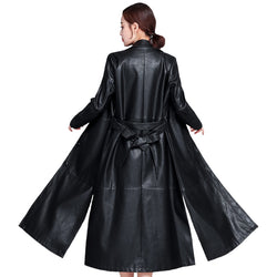 X-Long Women's Leather Jacket with Belt 2019 Autumn Winter Leather Jacket Women Oversize Black Coat Female Leather Trench Coat